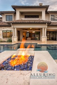 geometric pool with fire feature